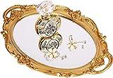 "Zosenley Polyresin Ellipse Antique Decorative Mirror Tray, Makeup Organizer, Jewelry Organizer, Serving Tray, 9.8""x 14.6"", Gold"