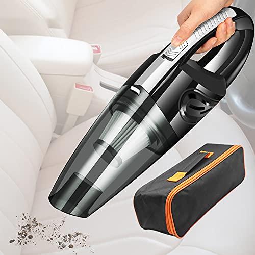 FAMYNGL Aspiradora de Coche inalámbrica portátil aspiradora de Coche Mini colector de Polvo inalámbrico Recargable 120W Limpieza rápida de Alta Potencia con Filtro HEPA Lavable,Negro