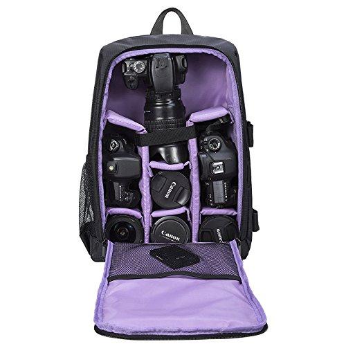 Selighting Mochila Fotográfica Multifunción y Impermeable para Cámaras Réflex Digital SLR Lentes Trípode Flash Laptop Portátil Canon Nikon Sony Drone y Accesorios (Morado-1)
