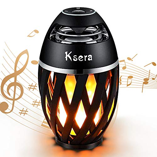 Ksera LED Flicker Flame Speaker, Flame Atmosphere Lamp with Wireless Bluetooth Speaker, Portable Waterproof Outdoor Light Stereo Speaker, Flashing Soft Light for Garden Yard Camping Party