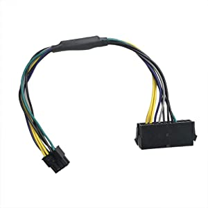 Zahara 24-Pin to 8(Pin) 18AWG ATX Power Supply Adapter Cable Replacement for Dell Computers 30CM