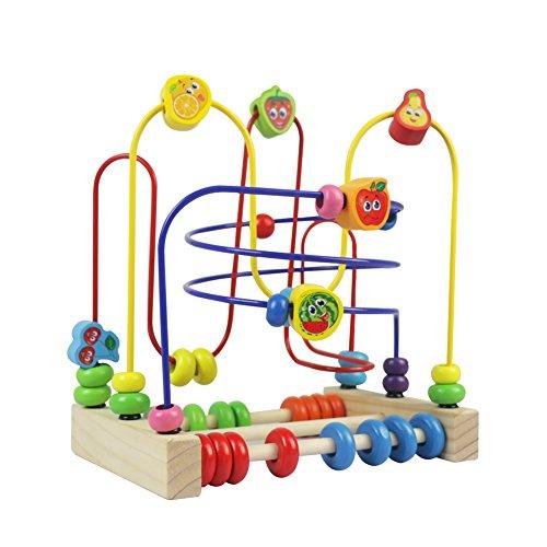 Jouets en Perles Bois 2 EN 1 Jeux de Boulier Labyrinthe de Fruits Jouet de Montessori Bebe Circuit Jeux Éducatifs Cadeau pour Enfant 3 4 5 6 Fille Garcon