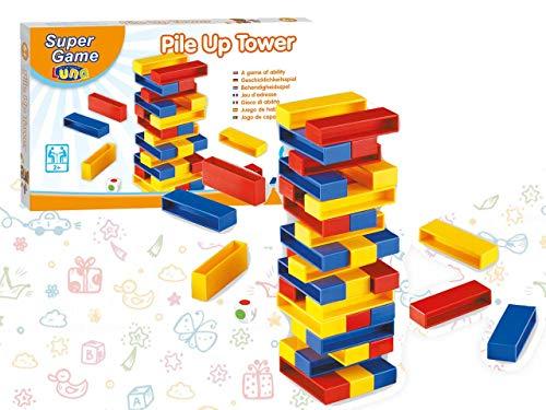 Luna 000620726 Brettspiel, Pile Up Tower, Maße: 40,5 x 26 x 3,5 cm, Mehrfarbig