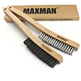 Wire Brush Set,Heavy Duty Carbon Steel and Stainless Steel Wire Scratch Brush for Cleaning Rust with 14' Long Curved Beechwood Handle,2 Pieces,Large