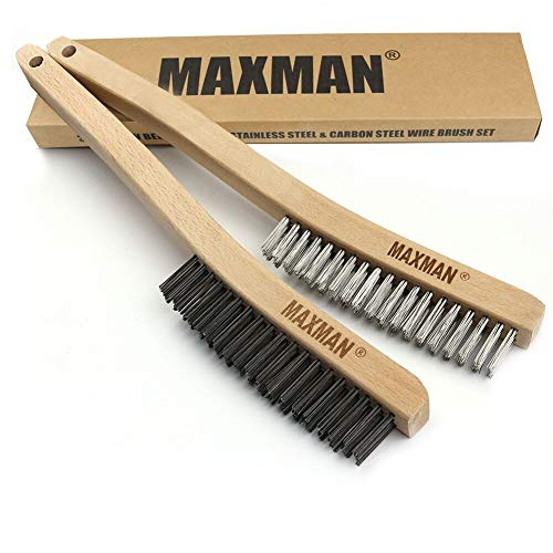 Wire Brush Set,Heavy Duty Carbon Steel and Stainless Steel Wire Scratch Brush for Cleaning Rust with 14