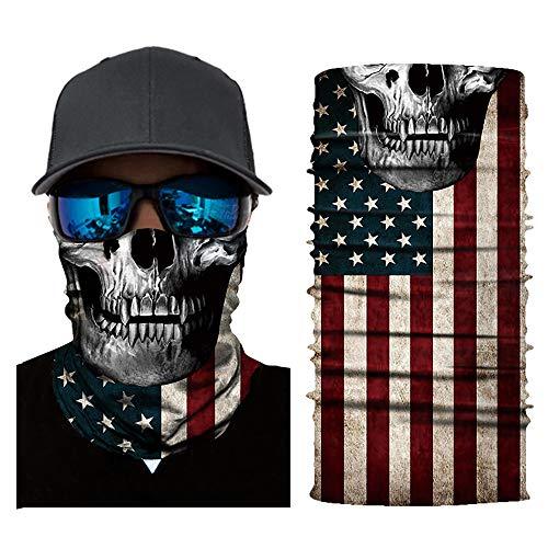 Halloween Skull Seamless Scarf Bandanas, Cloth Face Breathable Mask Reusable Dust Wind Sun UV Protection (A-5)