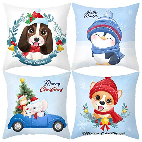 BBQQ 4PC Christmas Series Pillowcase Washable Non-Fading Sofa Cushion, Christmas Decorations Tree Ornaments Skirt Topper Lights Pajamas for Family