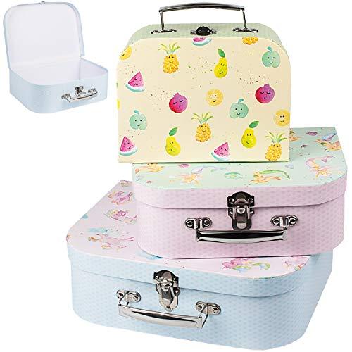 alles-meine.de GmbH 3 TLG. Set _ Kinderkoffer / Koffer / Kofferset - in 3 verschiedenen Größen - Einhörner - Meerjungfrau - lustige Früchte - Kofferset - für Spielzeug und als Ge..