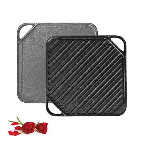 1-Piece 10.62 inch Cast Iron Griddle Plate   Reversible Square Cast Iron Grill Pan for Single burner  Double Sided Used on Open Fire & in Oven   Pre-Seasoned  Versatile Baking Cast Iron Grill