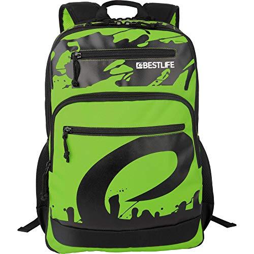 """BESTLIFE Unisex Rucksack """"MERX"""" Schultasche Freizeittasche mit Laptopfach bis 15,6 Zoll (39,6cm), grün/schwarz"""