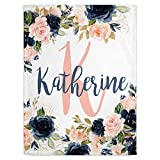 Personalized Baby Blankets for Girls with Name - Navy and Blush Pink Themed Custom Baby Blankets - Baby Girl Blankets - Cobijas para Bebe Niña-Customized Baby Blankets for Girls