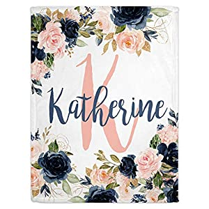 Personalized Baby Blankets for Girls with Name – Navy and Blush Pink Themed Custom Baby Blankets – Baby Girl Blankets – Cobijas para Bebe Niña-Customized Baby Blankets for Girls