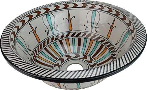 Fez – Kasbah – Keramik handbemalt marokkanisches Waschbecken – rund, innen nach außen bemalt – Di 40 Cam H 16 cm