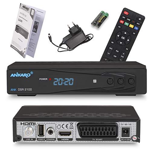 ANKARO DSR 2100 digitaler Full HD 1080p Satelliten Receiver schwarz mit USB Mediaplayer, Aufnahmefunktion und Timeshift/HDMI/Scart/LED Display / 12V Netzteil ideal für Camping