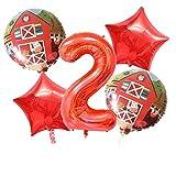 YSJJEFB Balloons 5pcs Farm Animal 32 '' Número de Aluminio Baby 1st 2rd Fiesta de cumpleaños Decoraciones Globo Juguetes para niños Suministros de Fiesta de Vacaciones (Color : Number 2 Set)