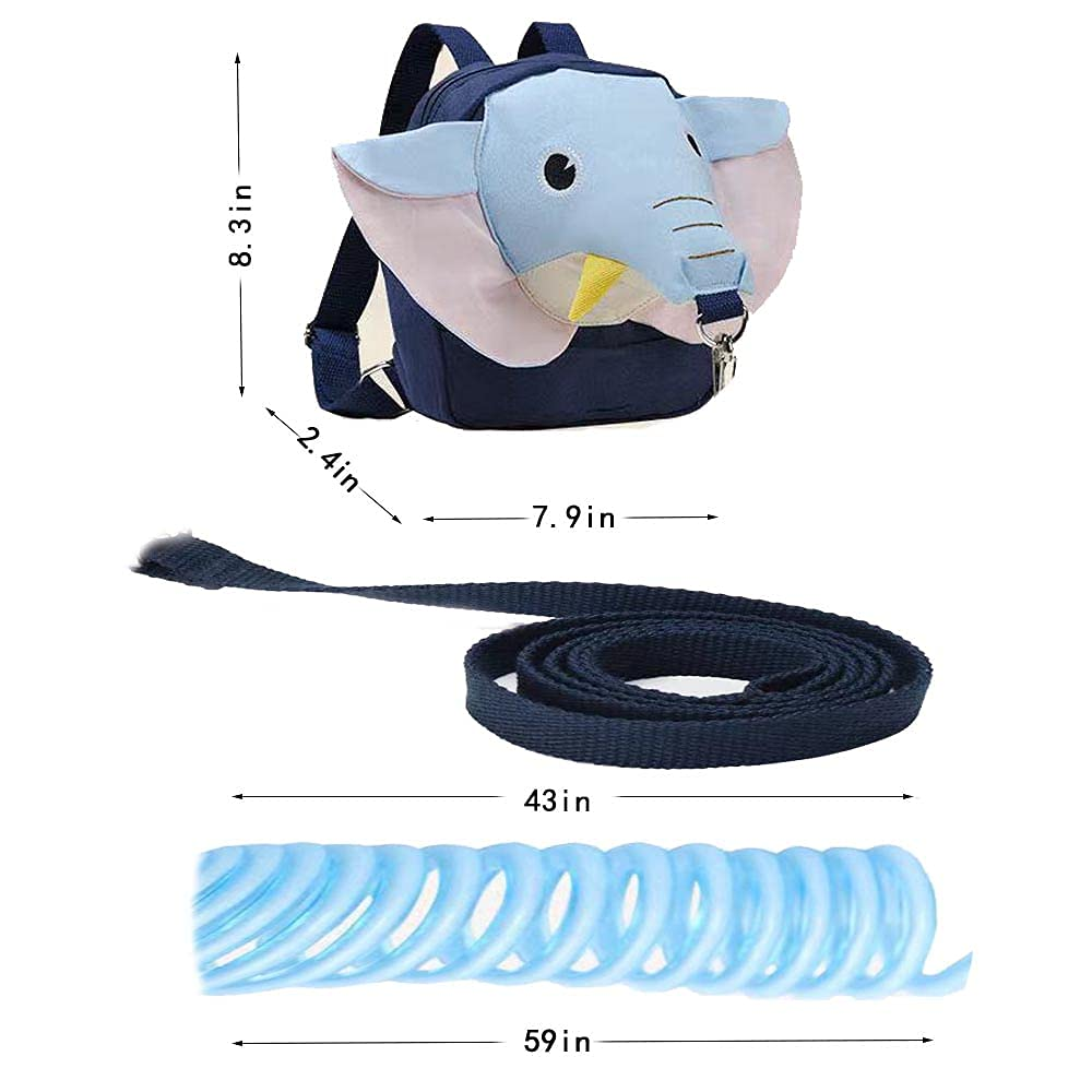Cute Elephant Backpack Anti-Lost Rope, 3 in 1 Toddler Harness Leash, Child Harness + Baby Anti Lost Tether Strap with Key Lock + Wrist Link, for 1-5 Years Boys Girls to Zoo, Mall, Park, Playground