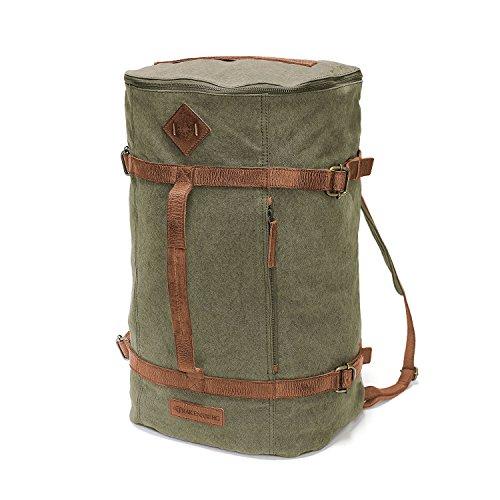 DRAKENSBERG Kimberley Ultimate Duffel Bag, zaino, borsa da viaggio, borsone, grande, bagaglio, tela, canvas, pelle, vintage, lussuosamente, verde oliva, marrone