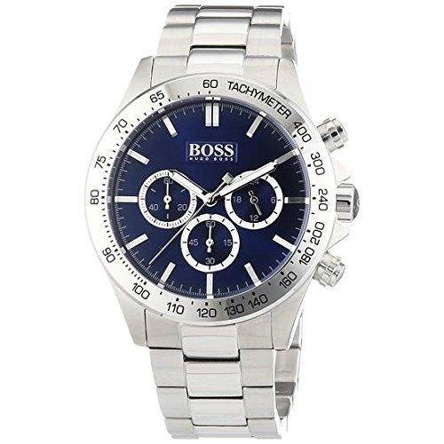 Hugo Boss Herren 1512963Silber Edelstahl Quarzuhr mit Blau Zifferblatt von Boss Hugo Boss