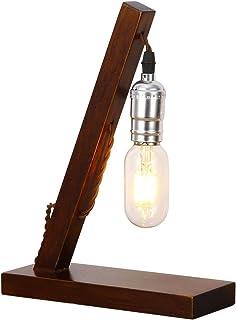 Injuicy Rétro Industriel Socle en Bois Métal Lampes de Table Antique Fer Forgé Conduite D'eau Steampunk Lampe de Bureau La...