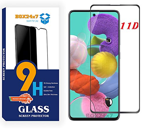 BOX24x7 Full Edge to Edge Screen Protector for Samsung Galaxy A71 Tempered Glass with 9H Protection for Samsung Galaxy A71 (Black)- Pack of 1