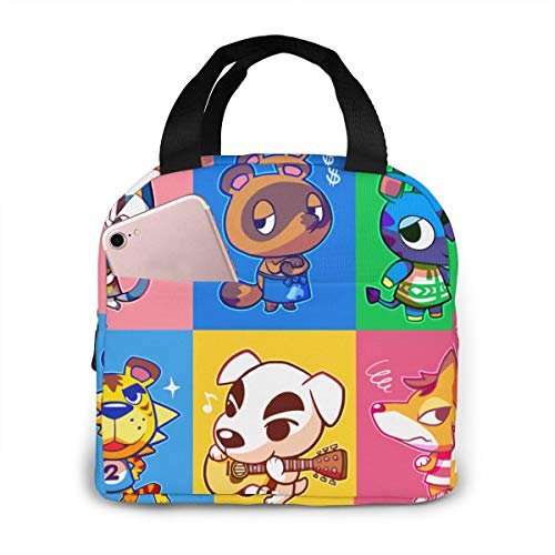 Cherrymo Animal Ac Crossing Insulated Lunchbox Tote Bag Fits Bento Boxes For Adult Kids One Size