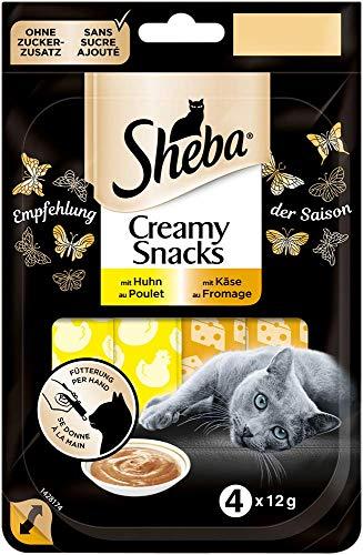 Sheba Katzensnacks Katzenleckerli Creamy Snacks Cremiger Snack zum aus der Hand Füttern - Empfehlung der Saison, 80 Stück (20 x 4 Stück)