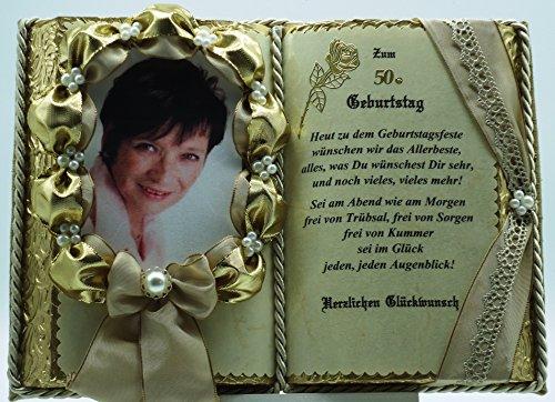 50. Geburtstag - Dekobuch für Foto beige/gold (mit Holz-Buchständer), Schmuckbücher für alle Anlässe