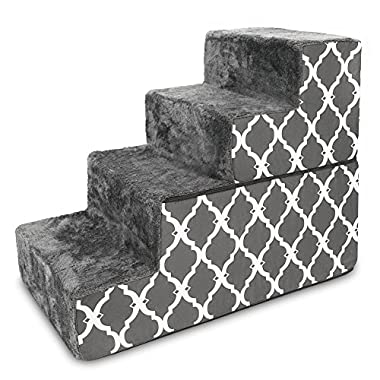 Best Pet Supplies - Dark Grey with Lattice Print Foldable Pet Foam Stairs/Steps for Dogs and Cats (4-Step)