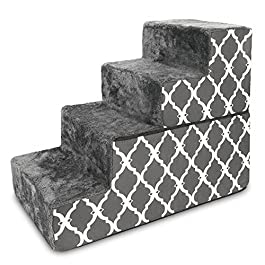 Best Pet Supplies Made in USA Foldable Pet Steps/Stairs with CertiPUR-US Certified Foam Gray Lattice, 4-Steps (H: 22″)