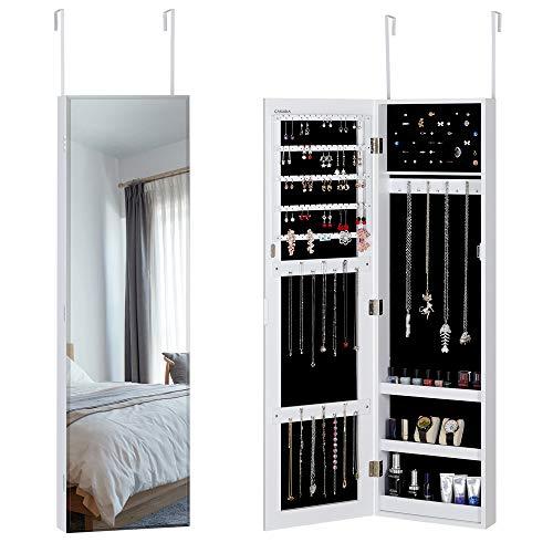 Casaria Schmuckschrank mit Spiegel hängend Tür - Wandmontage Schmuckregal Schmuckhalter Schmuckorganizer Schmuckkasten Weiß
