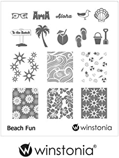 Winstonia Nail Art Stamping Image Plate - Beach Fun