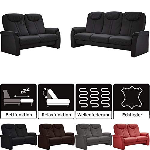 Cavadore Sitzgruppe Canta / 3-Sitzer Sofa mit Bettfunktion und 2-Sitzer Sofa mit Relaxfunktion / 3er Sofa: 222 x 109 x 90, 2er Sofa: 161 x 109 x 90 / Echtleder Schwarz
