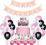 Jimiston BTS Birthday Party Supplies- 30 globos BTS / 22 cupcake Topper / 1 Happy Birthday Cake Topper / 1 Banner para el ejército