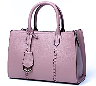 Leather 2018 New Ladies Handbag First Layer Cowhide Leather Handbag Waterproof (Color : Pink, Size : M)