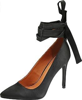 Cambridge Select Women's Pointed Toe Ballerina Wraparound Ankle Tie Bow Stiletto High Heel Pump