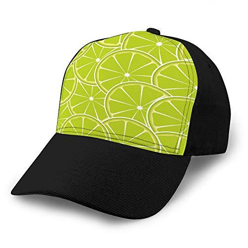 Sombrero clásico de algodón para papá Gorra Lisa Ajustable Gorra de béisbol de Mezclilla Personalizada para Adultos Lima Fruta Resumen de antecedentes Gorra de béisbol de algodón