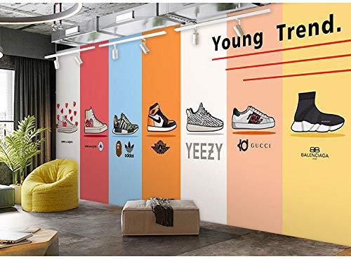 Mode Tide Schoenen Sneakers Shop Wallpaper Persoonlijkheid Trend Tide Merk Wanddecoratie Mural Kleding Winkel Schoenen Winkel Behang 430 * 300cm(169.3 x 118.1 inch)
