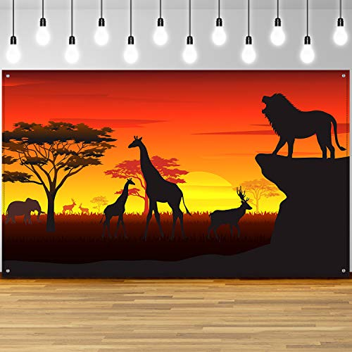 African Safari Theme Party Decorations, African Safari Backdrop Banner for African Safari Theme Supplies, Tropical African Forest Jungle Safari Scenic Background Photobooth Banner, 72.8 x 43.3 Inch