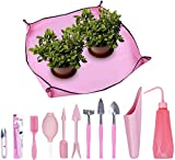 DasMorine Juego de 11 herramientas suculentas para trasplante de mano de jardín, color rosa, incluye 1 pieza de tela de trabajo para jardín interior, cuidado de plantas