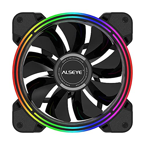 ALSEYE CPU Cooler, 120mm PC CPU Fan RGB Fans 4-pin PWM Low Noise Computer Case Fan 2000 RPM Speed   Static LED DC 12v Led Fan for Silent Fan Replacement