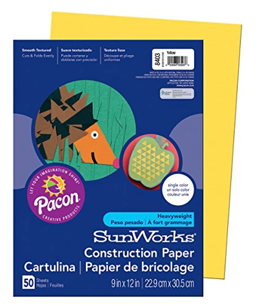SunWorks Construction Paper, Yellow,  9