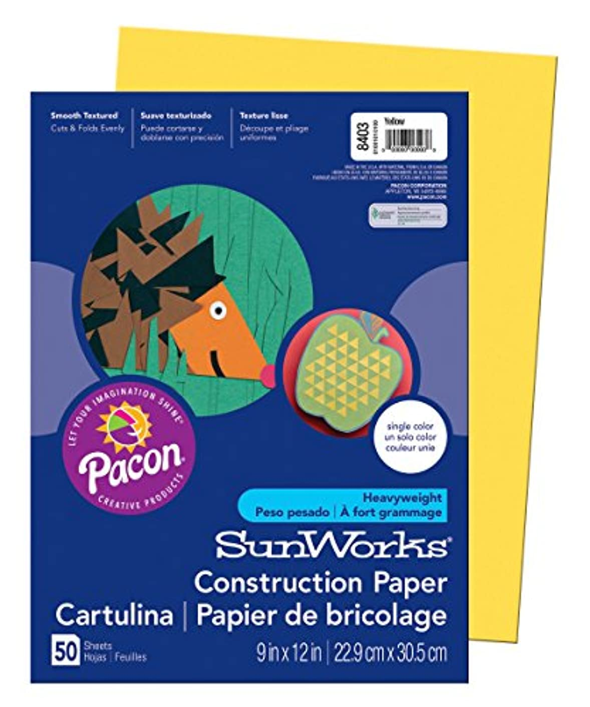 SunWorks Construction Paper, Yellow,  9