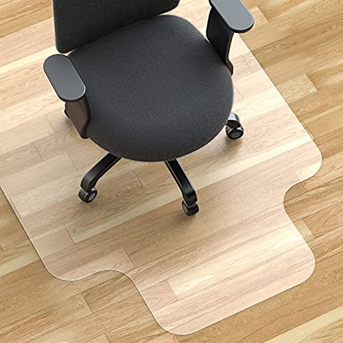 ARTOFUL Office Chair Mat for Hardwood Floor 47'×35'×0.08', Thicker Heave Duty Desk Chair Mat with Lip, Waterproof Non-Slip Plastic Floor Mat Protector for Office and Home