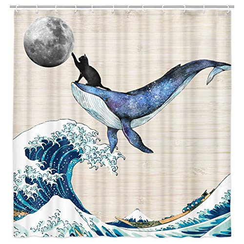 Funny Cat Shower Curtain, Cute Cat Riding Whale in Great Ocean Wave Touch The Moon Vintage Wooden Creative Art Bathroom Decor Waterproof Fabric Shower Curtains Sets with 12 Hooks