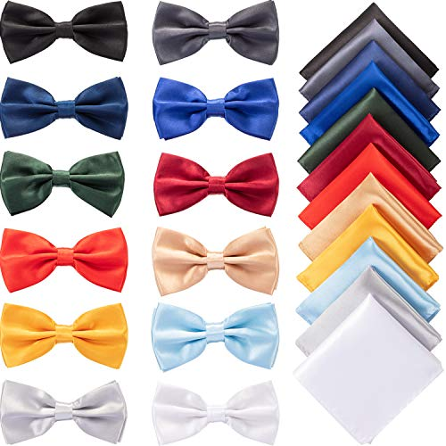 12 Sets Pre-tied Bow Tie Pocket Square Handkerchief Solid Color Bowtie Satin Handkerchief for Men Boys Formal Occasions Decoration, As Pictures Shown, 13 x 3.5 cm/ 4.7 x 1.4 inches