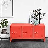 Geniqua Red Metal Locker Kitchen Dining Cabinet File 3 Door Organizer Storage Shelves Cupboard TV Stand Table