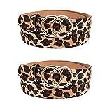 EIKLNN 2 Piezas Cinturón de Cuero para Mujer, Cinturón de Mujer de Leopardo, Moda Mujeres Cinturón Anchos con Hebilla Redonda, para Jeans Pantalones Cortos Vestidos
