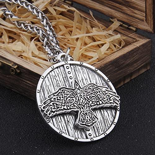 NDYD Vikingos Nórdicos Collar De Águila Y Escudo Celta De Acero Inoxidable Joyas Collar De Amuleto De Runas Escandinavas con Caja De Madera Valhalla,Plata,70cm