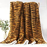 Sleepwish Tiger Stripe Fuzzy Blanket Modern Animal Stripes Decorative Sofa Couch and Floor Throw Warm Cozy Super Soft Bed Cover Long Shaggy Hair Faux Fur Sherpa Backing Black and Tan 63 x 79 Inches