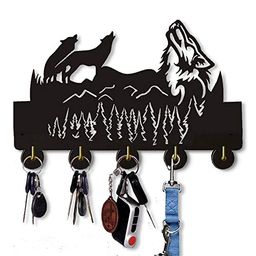 Wild Wolf Wall Key Hooks 20LBMax Handmade Wood Hooks Light in Weight and Easy to Install Five Metal Hooks Coat Holder Black Color Wild Wolf B